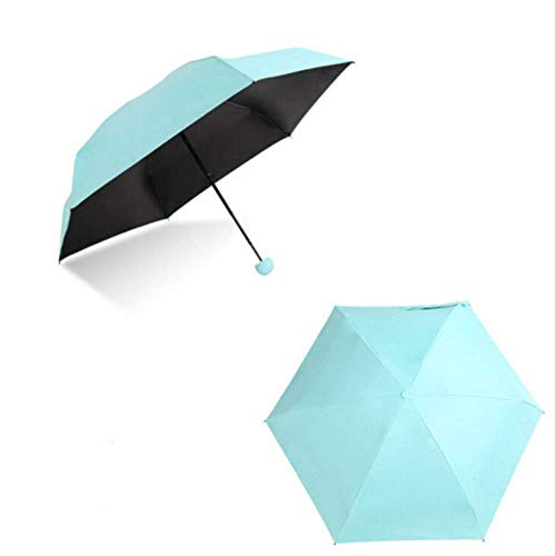 Regenschirm WEN FENG Mini Regenschirm Regen Frauen Sonnenschirm Sonnenschutz Regenschutz Kapsel Regenschirm 5 Falten Anti-uv Winddicht Tragbare Tasche Regenschirm 90x51,5 cm blau - Blume, 90 Kapseln