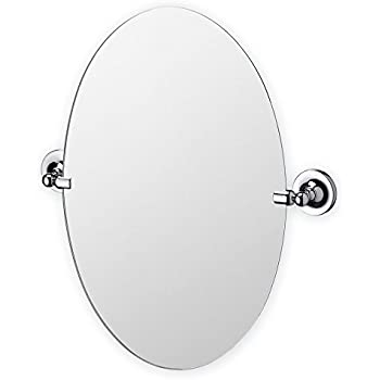 Bathroom Mirror Oval Round Swivel Pivot Chrome Silver Finish Wall Mounted