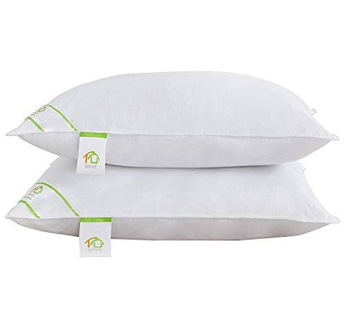 DUO-V HOME - Almohadas de Plumas y Plumas de Ganso con Funda de algodón de 240 T, firmeza Media y Suave...