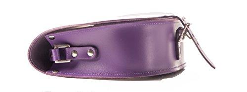 Vera pelle Saddle Croce borsa corpo con fibbia di chiusura e tracolla regolabile. Disponibile in vari colori. Viola