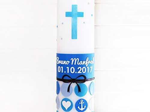 Taufkerze Jungen mit Kreuz, Punkte, Schleife, Herz, Anker, Taufe, Kerzen, weiß, 275x70mm, made in germany