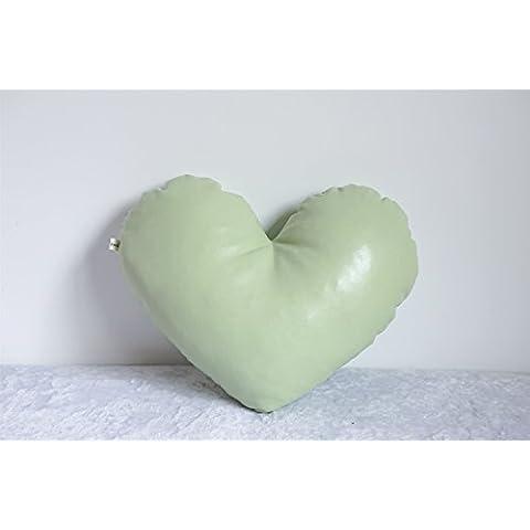 color caramelo-amor amortiguador de la almohadilla de cuero en forma de corazón hecha a mano cojín del sofá amortiguador del coche ( Color : E )