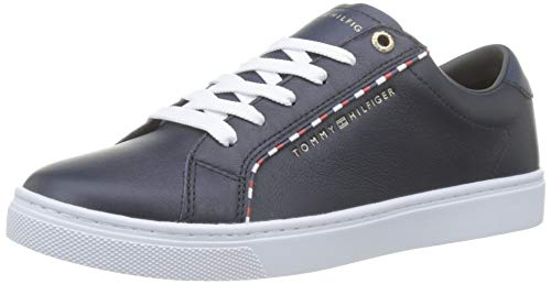 Tommy Hilfiger Damen Corporate Detail Sneaker, Blau (Midnight 403), 37 EU Details Sneaker