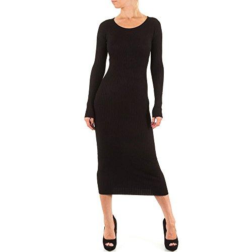 Kleid Damen Elastisches Strick Schwarz ONE SIZE (Kurze Ärmel Einheitliche Falten)