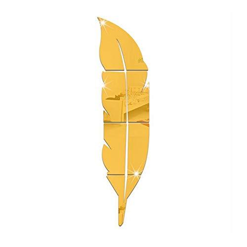 3D Acryl Spiegel Aufkleber Feder Wandtattoo Wandsticker Wandaufkleber Wanddeko DIY Wandbilder für Home Restaurant Cafeteria Bar Arbeitszimmer Wohnzimmer Aufkleber Selbstklebend Golden Feder 6 Stück.
