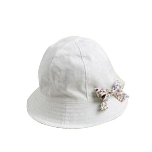 Reversible Blumen Baumwolle Bowknot Motorhaube Babyschale Mädchen Sonnenblende Hut Mütze Hüte Weiß (Hut Blumen-reversible)