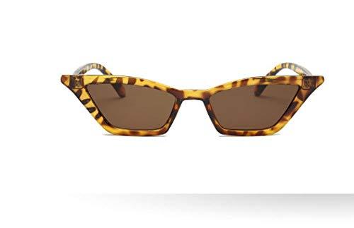 HSHUO Damen Sonnenbrille Kästchen Katzenaugen Retro Sonnenbrille uv400@Leopard Farbe