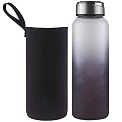 DEARRAY Sport Glas Trinkflasche 1000ml / 1 Liter, Borosilikatglas Wasserflasche mit Neoprenhülle und Stilvollem Edelstahldeckel