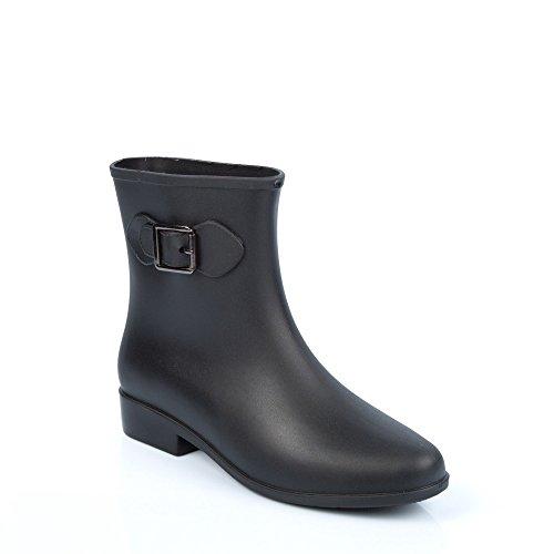 Ideal Shoes Gummistiefelette, zweifarbig, mit Zierschnalle Schwarz - Schwarz