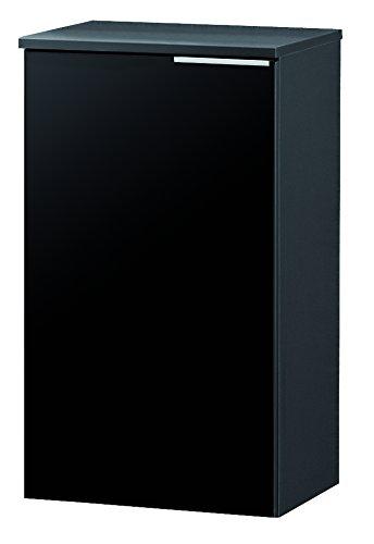 FACKELMANN Unterschrank KARA / Badschrank mit Soft-Close-System / Maße (B x H x T): ca. 41 x 70 x 32 cm / hochwertiger Schrank fürs Bad / Türanschlag links / Korpus: Anthrazit / Front: lackiertes Glas in Anthrazit