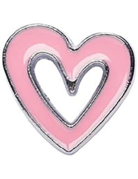 La Loria Herz-Anhänger, 2 Charms für das Lederarmband oder die Schnürsenkel, rosa