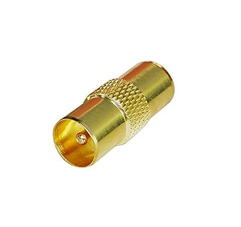 Adaptateur câble coaxial mâle/mâle antenne TV, RF plaqué or