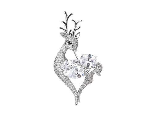 MINISU Boda Elegante Delicado Ciervos Broche Boda Boda Banquete Vestido Decorativo para Regalo de Las Mujeres (Plata) Broche de joyería (Color : Silver, tamaño : 5.5x2.8cm)