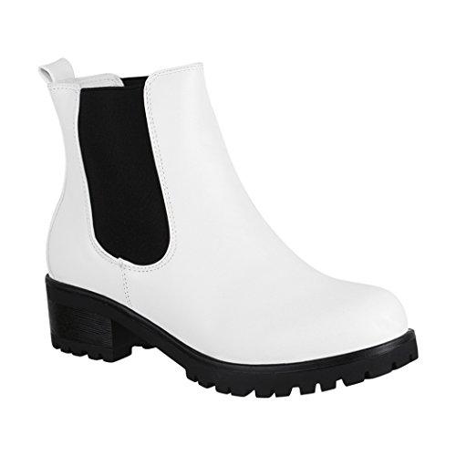 Elara Damen Cowboy Stiefel Stiefeletten Chunkyrayan2018 C222-White-36