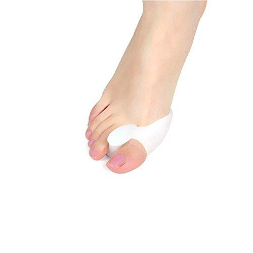 Soft-Gel Zehenspreizer,Moon mood® Gel Fuß Zwei Zehen Separator Hallux Valgus Korrektor Glätteisen Orthese Toe Separatoren Straighters Vorbeugung von Schmerzen und Entspannung der Füße(Weiß)