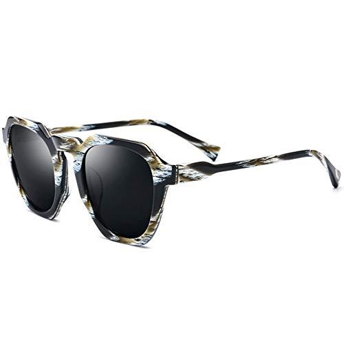 MQW Platte Polygon Tiger Frame Frame Polarisierte Sonnenbrille Männer Mode Retro-Brille Weibliche Graue Linse UV400 Schutz Mode Persönlichkeit