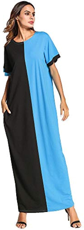 Yhjklm Vestito da da da Donna Maxi Abito Manica Corta Donna Arabo a  Contrasto Medio Oriente 7f18e899279