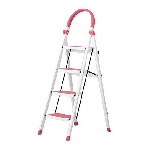 LNDDP Escalera Multifunción Plegable Material Grueso Portaherramientas autónomo Seguridad para Adultos, Escalera 4 peldaños Doble Uso (Color: Rosado)