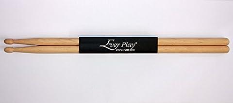Ever Play Maple Drumsticks, ideal für Einsteiger und Fortgeschrittene (5AN Nylon Tip) (Hickory 5a Nylon Tip)