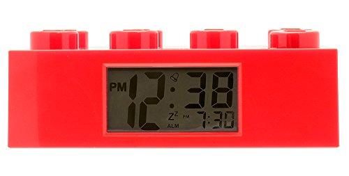 Roter LEGO-Stein-Wecker für Kinder mit Hintergrundbeleuchtung | rot | Kunststoff | 7 cm hoch | LCD-Display | Junge/ Mädchen | offiziell