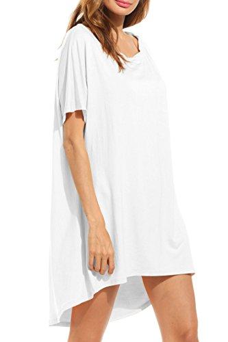HOTOUCH Damen Eine Schulter Beiläufige Kurze Flügelhülse Lose T-Shirt Kleid (Plus Größe) Typ1-Weiß