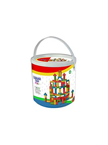 KIDZ CORNER 50 Wooden Blocks in Bucket Imported from Italy