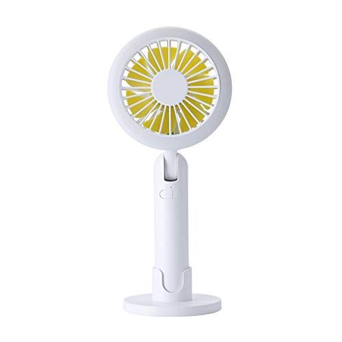 ToDIDAF Einfacher Kleiner Handventilator Leichter Tragbarer Lüfter mit Nachtlicht Tischständiger Mini-Ventilator 3 Geschwindigkeiten, Geeignet für Office Reisen BBQ Camping Angeln Picknick (Weiß) -
