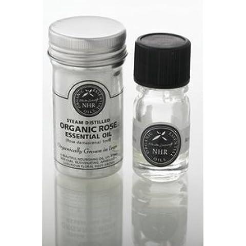 Organic Rose Essential Oil - Otto (Rosa damascena) /Aceite Esencial Orgánico de Rosa Otto (Rosa damascena) (2.5ml) by NHR Organic Oils