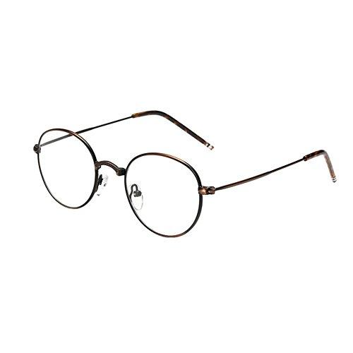 Deylaying Metall Runden Rahmen Optische Gläser Retro Harz Linsen Gemütlich Brille Unisex Eyewear