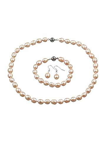 Stunning 9-10mm Pink Rice Freshwater Pearl Necklace and Matched Bracelet,