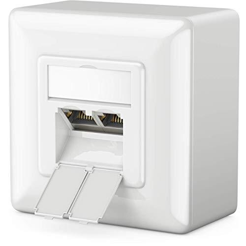 deleyCON 1x CAT 6a Universal Netzwerkdose - 2X RJ45 Port - Geschirmt - Aufputz oder Unterputz - 10 Gigabit Ethernet Netzwerk - EIA/TIA 568A&B - Weiß