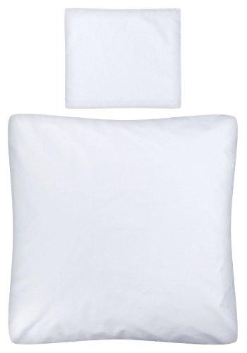 Weiche Wiege Bettwäsche (Aminata Kids – Weiße Baby Bettwäsche á 80x80 cm Kinder Jungen Mädchen Unifarben Weiß Baumwolle + Reißverschluss Wiegenset einfarbig Weiss Bettbezug Stubenwagen Kinderwagenbettwäsche Kinderbettwäsche)