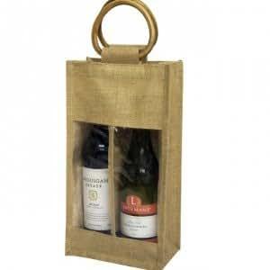 Lot de 10 sac en toile de Jute pour 2 bouteilles de vin/spiritueux Sac cadeau 36 x 20 x 10 cm, avec windows &manche de canne