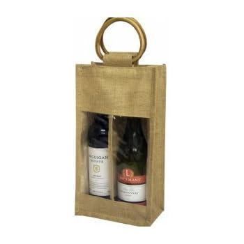 5 x JUTE BAG WINE BOTTLE GIFT BAGS WITH WINDOW Packof 5Christmas discount.12.99