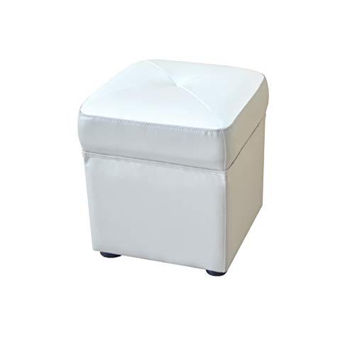 Pouf en cuir Repose-pieds Coudre Simple Maison Moderne Salon Chambre Petit Canapé Tabouret pour Table Basse Coiffeuse (Couleur : Gray)