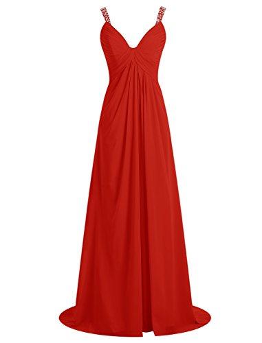 Bbonlinedress Robe de cérémonie Robe de demoiselle d'honneur avec bretelles ouverture frontale longueur ras du sol Rouge