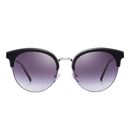 JM Designer Browline Runden Sonnenbrille Halb Randlos Gradient Schatten für Damen(Silber/Farbverlauf Grau)