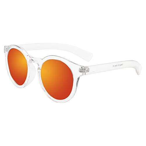 Clear Frame Horn umrandeten runde Sonnenbrille Reflektierende Revo-Spiegel Objektiv P1634B Red