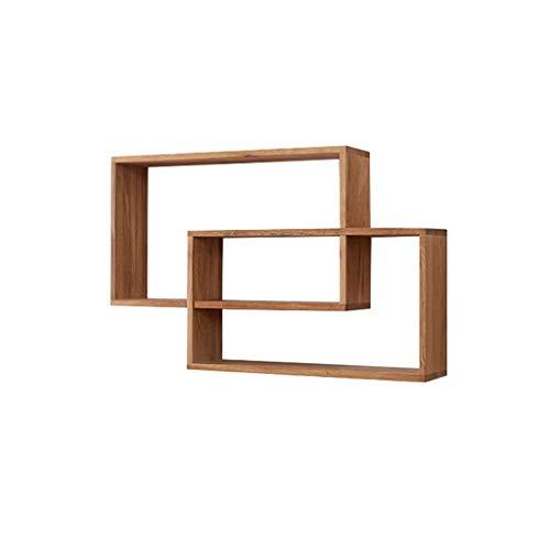 GY Schwimmendes Regal, Holz Durchschneiden Wand Hängen Wand Bücherregal, Dekoriertes Wohnzimmer, Schlafzimmer Lagerregal Espresso-Finish Holzfarbe, 78 * 50 * 14 cm (Farbe : Holzfarbe) -