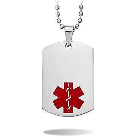 MeMeDIY Silber Ton Edelstahl Anhänger Halskette Medical Alert ID Dog Tag ,mit 58cm Kette - Kundenspezifische Gravur