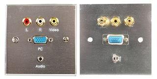 WALLPLATE, VGA + MULTIMEDIA, STEEL PSG03795 By PRO SIGNAL Vga-steel Wall Plate
