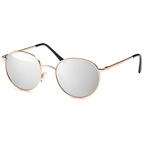 Sonnenbrille Unisex rund Gläser Hippie Brille John Lennon 400UV silber Bogen
