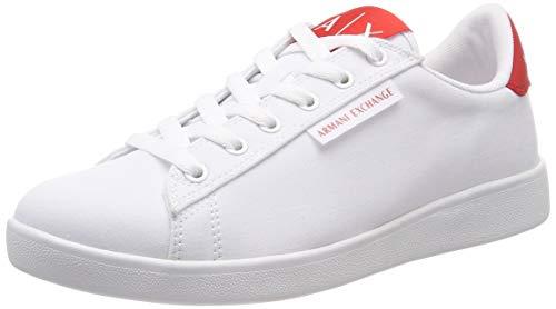 Armani Exchange Damen lace up Cotton Twill Sneaker, Weiß (Op White+ Red A041), 38 EU