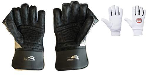 S+S SS Match Cricket-Handschuhe für Herren, mit Baumwoll-Innenhandschuhen, Black Color