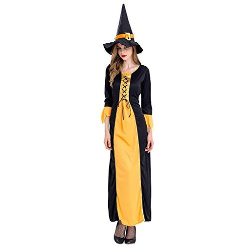 NWFS Lust auf Cosplay Hexe Kostüme Erwachsenes Mädchen Hexe Kleid Kostüm Mode Overall Uniform und Hut Halloween Party Bühnenperformance (Masquerade Kostüm Plus Größe)