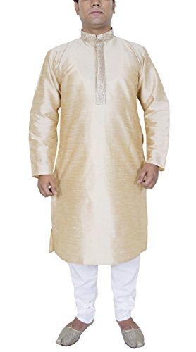 Männer Mode Kleid Hose Hemd Kurta-Pyjama-Set ethnischen Kleid beige (Kurta Seide Set)