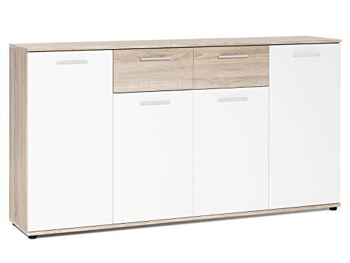 """Sideboard Beistellschrank Anrichte Standschrank Kommode Highboard \""""Jacklin II\"""" Sonoma-Eiche/Weiß"""