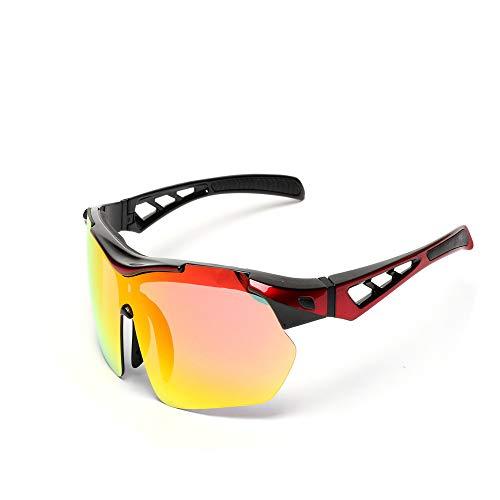 Owenyang Polarisierte Sportsonnenbrille Reitbrille Sonnenbrille Laufen Fahren Brille UV-Schutz Männer und Frauen Sportbrillen Radsportbrille Sonnenbrille Anti-Fog Ideal zum Fahren (Color : Black)