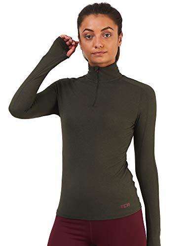 TCA Damen Fusion Quickdry Half Zip Laufshirt mit Kragen & Reißverschlusstasche - Langarm - Waldgrün, XS -