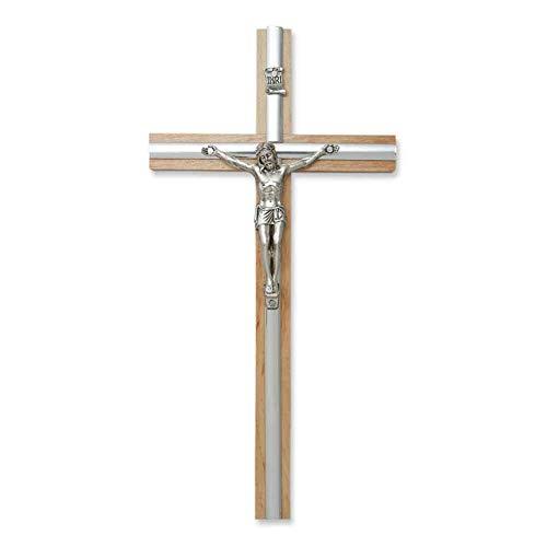 Wandkreuz Kruzifix Holzkreuz Natur Christus Korpus Jesu Körper Auflage Metall Silberfarben 20 cm Kreuz für die Wand